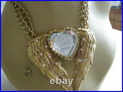 Vintage Betsey Johnson Fly With Me Large Angel Wing Heart Pendant Necklace Rare