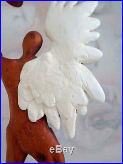 Vintage Large Abstract Angel with Wing and Propeller Wooden Sculpture