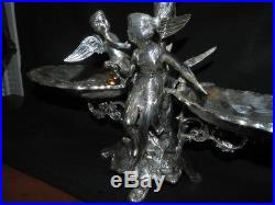 Vintage Large Deco Silver Plate Epergne Winged Angel and Winged Cupid