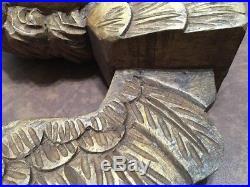 Vintage Large Detailed Carved Wood Gothic Ornate Winged Angel Cherub 27 Long