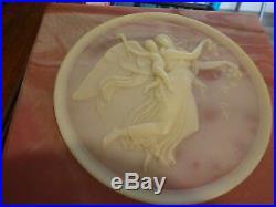 Vintage Large Genuine Incolay Stone Trinket Box Mauve Ivory Angel n Winged Child