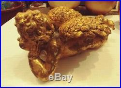 Vintage Large Gold Painted Wood Cherub Angel Decorative Wings 12 L X 6h X 7 D