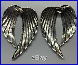 Vintage Large Statement Sterling Silver 925 Angel Wing Earrings
