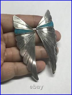 Vintage Large Sterling Silver Turquoise Angel Wings Earrings 14.5 Grams
