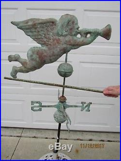 Vintage Large Weather Vain Of Copper Winged Angel Tooting Its Horn