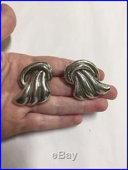 Vintage Sterling Silver 925 Large Statement Angel Wing Clip-On Earrings