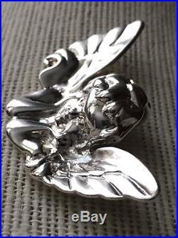 Vintage Victorian Winged Cherub Cupid Angel Large 3D Sterling Silver Pendant