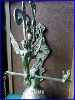 Vintage large brass bell church angel wings sanctuary pub watchtower monastery