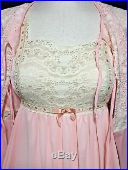 Vtg 70s GIlead NOS Nightgown & Robe NYLON Hip Boho Angel Wing Ivory Peach L XL