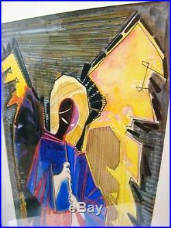 Watercolour Pontecorvo Raffaele Archangel Angel Figure Winged in Blue Large 1959