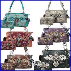 Western Handbag Faith Hope Love Cross Angel Wings Carry Conceal Purse Wallet