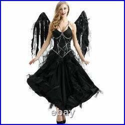 Women's Vampire Angel Costume Halloween Black Devil With Wings Party Cosplay