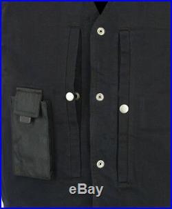 Womens Black Denim Vest W Gun Pockets, Red Rhinestone Angel Wings Biker Design
