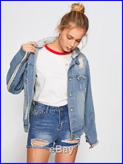 Womens Light-denim Boyfriend Distressed Ripped Hoodie Angel Wings Jacket Large