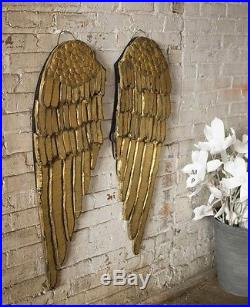 Wood Gold Angel Wings Wall Decor Shabby Cottage Chic Christmas Decor Large