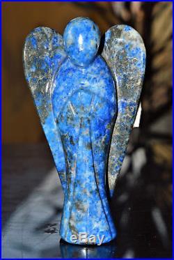 X-Large 5 125MM Angel Blue lapis Lazuli Healing Power Carved figurine Wings