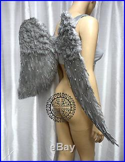 X Large Silver Rhinestone Angel Wings Dance Costume Rave Bra Cosplay MTO